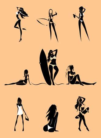 girls rest on the beach. Vector set