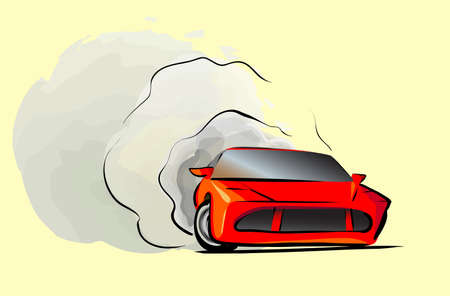 Cartoon Sport car fast drive drift red 向量圖像