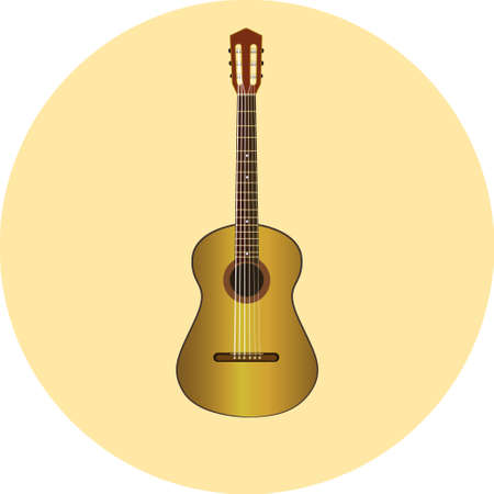 clasic guitar vector natural wood icon eps10