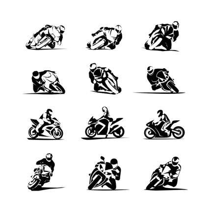 Extreme Motorbike sportbikes Rider racer vector set 12x