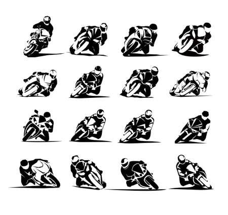 Extreme Motorbike Rider vector eps set 16x
