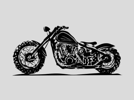 Classic motorcycle. Emblem of biker club. Vintage style. Monochrome design. chopper bobber scrambler