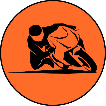 racer ride sportbike  vector isolated icon