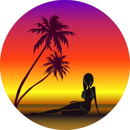 Vector illustration of girl on beach under palmtrees