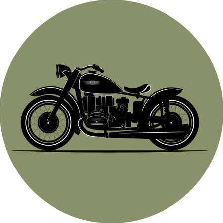 Vintage motorcycle. vintage illustration a retro bike.