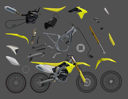 Motorcycle parts bike Vector illustration 10eps colorful