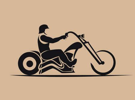 biker, motorcycle grunge vector silhouette, retro emblem and label 向量圖像