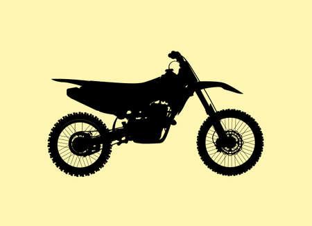 Sport motorcycle motocross technical model. High detalisired black Vector silhouette illustration.