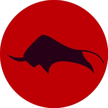 savage bull vector illustration icon red black 向量圖像