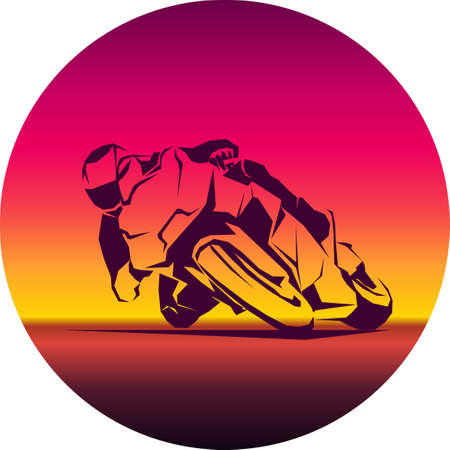 racer ride sportbike vector isolated icon 向量圖像