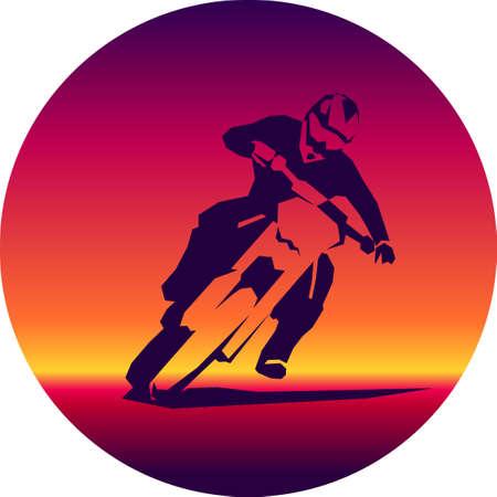 Racer and sport motocross bike vector icon