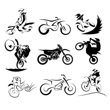 offroad motocross motorcycle silhouette set 9x