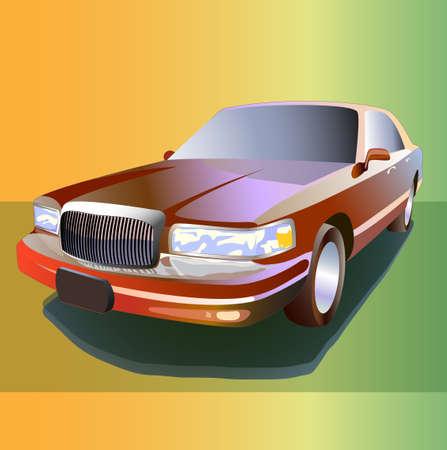 Vector cartoon limousine color 3d illustration 10eps