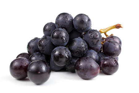 Wet cluster of blue grapes