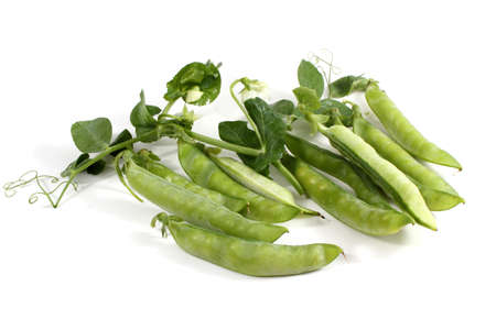 Pea pods isolated on white