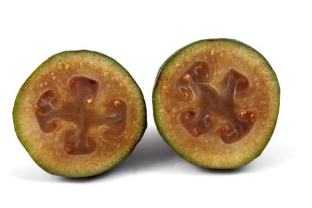 feijoa: Halves of feijoa fruit