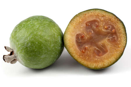 feijoa: Feijoa fruit with a half Stock Photo