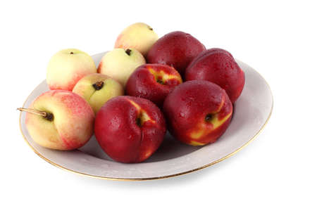 Nectarines on plate