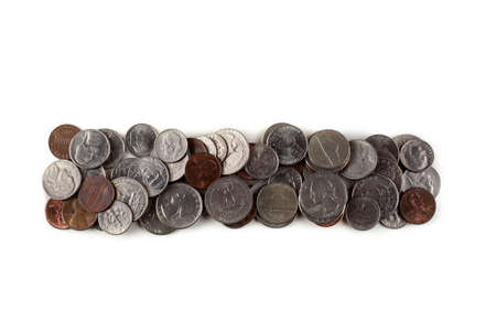 The hyphen (-) made of coins