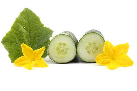 Cucumber halves, flowers and leaf 版權商用圖片