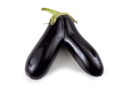 Unusual aubergine in a shape of letter V