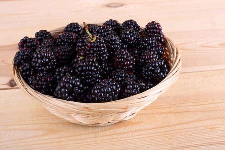 Blackberries on wicked plate