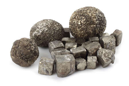 Pyrite (fools gold) isolated on white