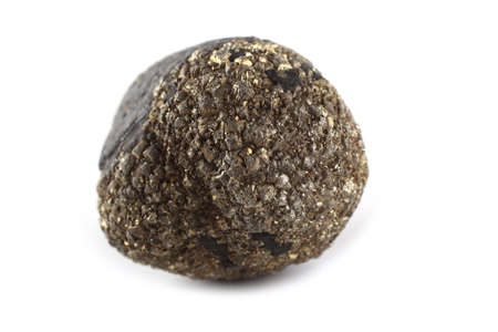 Pyrite (fools gold) isolated on white (FeS2)