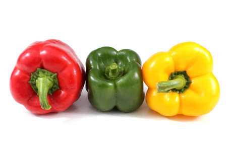 Different color sweet peppers isolated on white