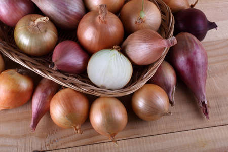 Onions on table