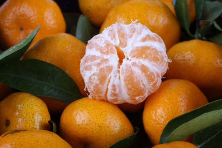 Mandarin oranges background. Fruits on leaves Banco de Imagens