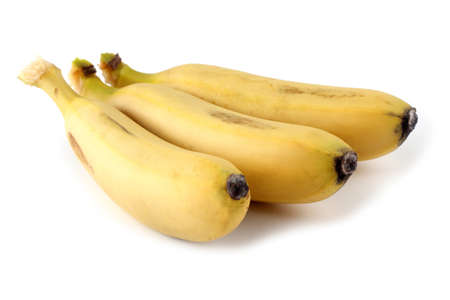 Three bananas isolated on white