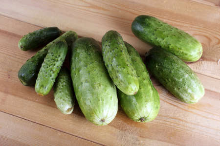 Cucumbers on table