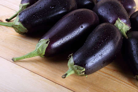 Eggplants on table