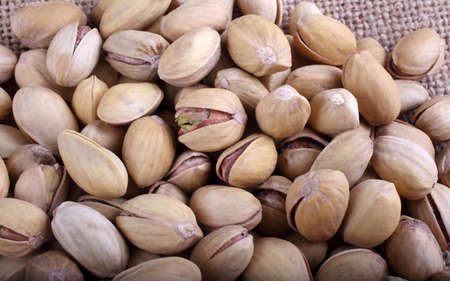 Pistachio nuts on bagging Stock Photo