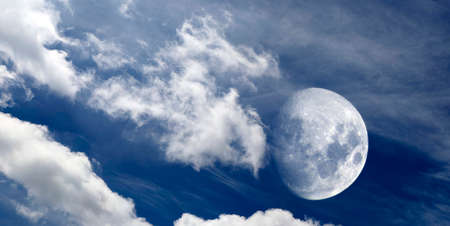 Cirrus clouds and Moon panorama