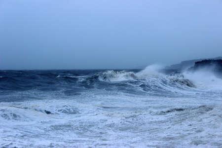 Typhoon on sea. Maysak, 2020