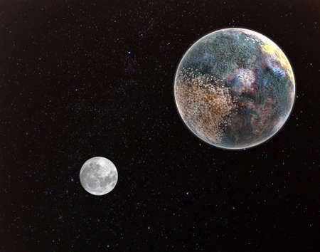 Moldy dead Earth and Moon. Environmental pollution concept
