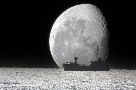Ship and big Moon. Night sea Archivio Fotografico