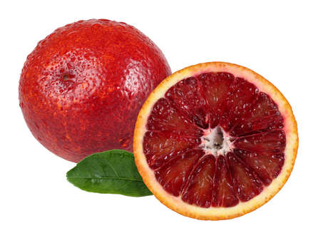 Red Sicily orange with a half. Very detailed