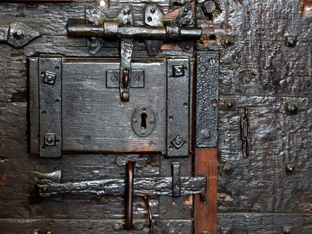 pawl: Old door lock Stock Photo