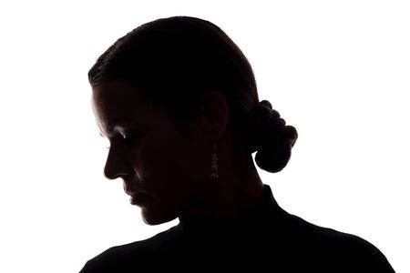 Portrait of a young woman, side view - horizontal silhouette