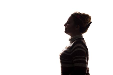 Portrait of a young woman, side view - silhouette