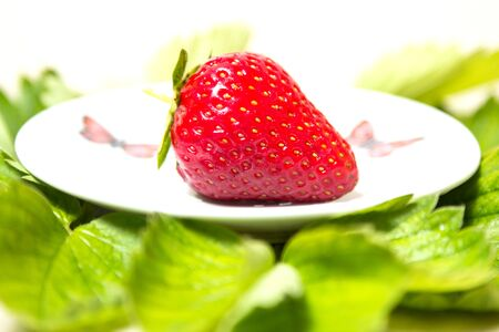 Red and ripe strawberry on the plate among the leaves on a white background - Isolate Banque d'images