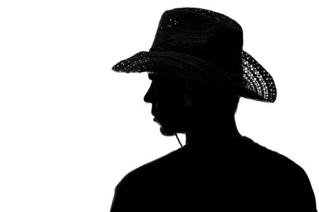 young man in a straw hat silhouette - side view Stock fotó - 150294035