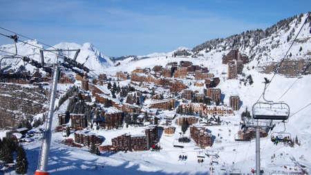 The French Alps in winter, ski resort Avoriaz, France