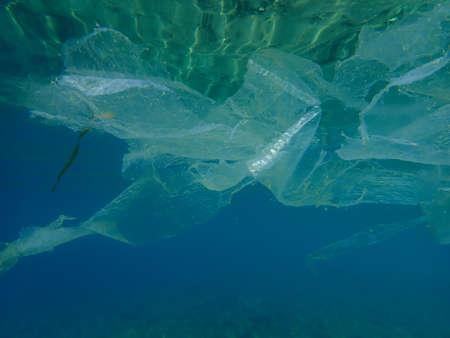 Plastic garbage underwater, Aegean Sea, Greece, Halkidiki