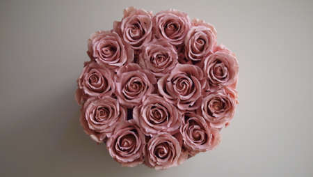 Bouquet of exclusive dusty pink roses on a neutral background.