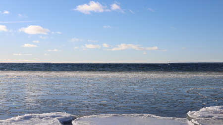 Stunning sea view on a crisp and snowy winter day, Baltic Sea сoast, Gulf of Finland, Estonia
