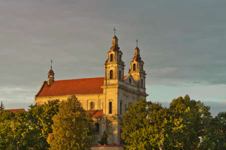 shadowy: St. Raphael the Archangel Church in Vilnius, Lithuania in late afternoon sunlight